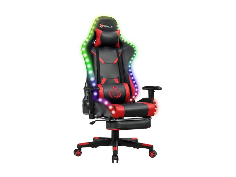 Goplus Massage Gaming Chair with RGB Lights